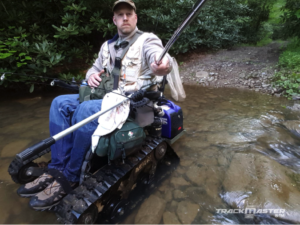 wheelchair with tracks for hunting and fishing