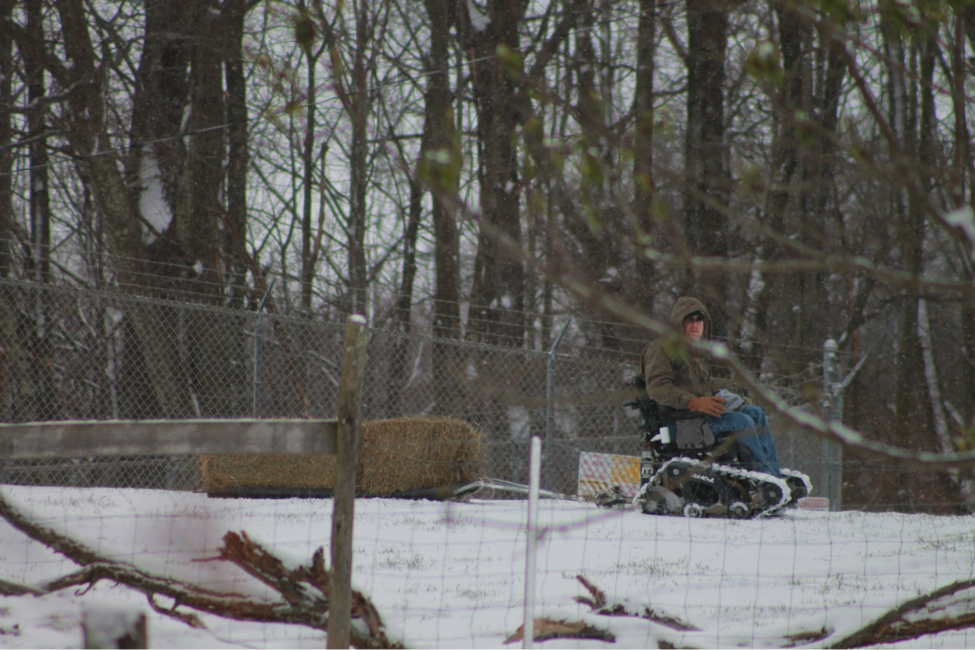wheelchair with tracks for hunting in snow