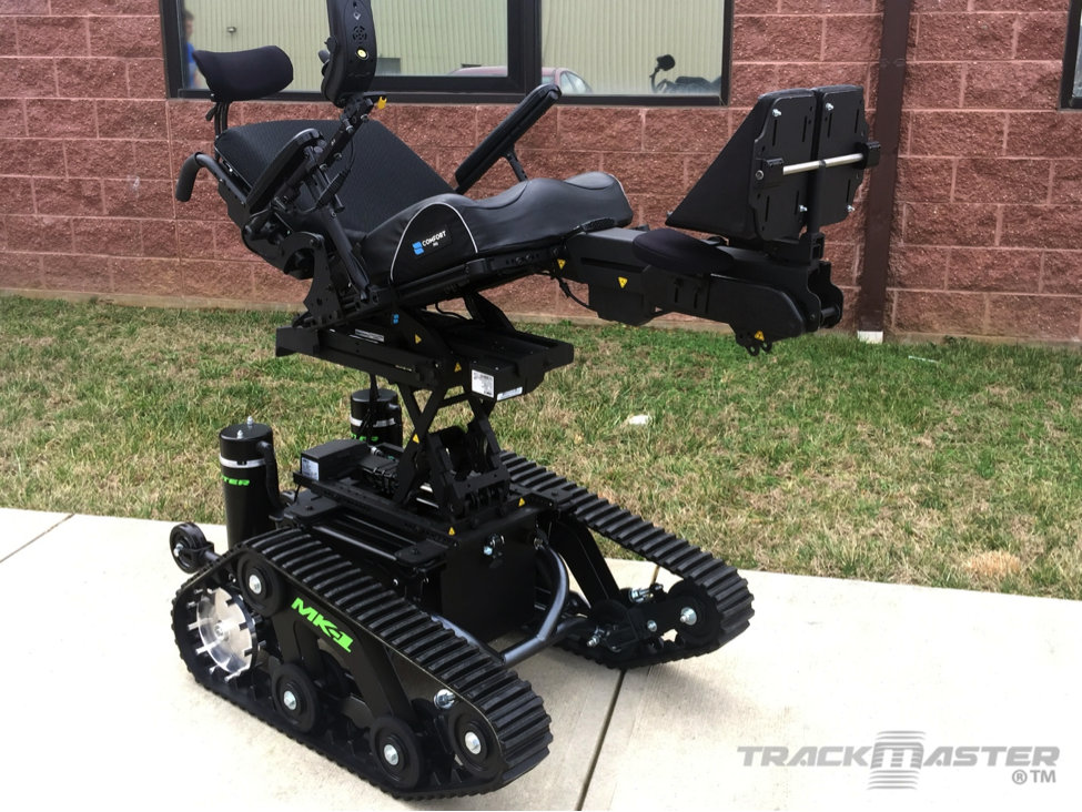Custom TrackMaster MK-1 with complex rehab seating and power tilt. Matte Black color.