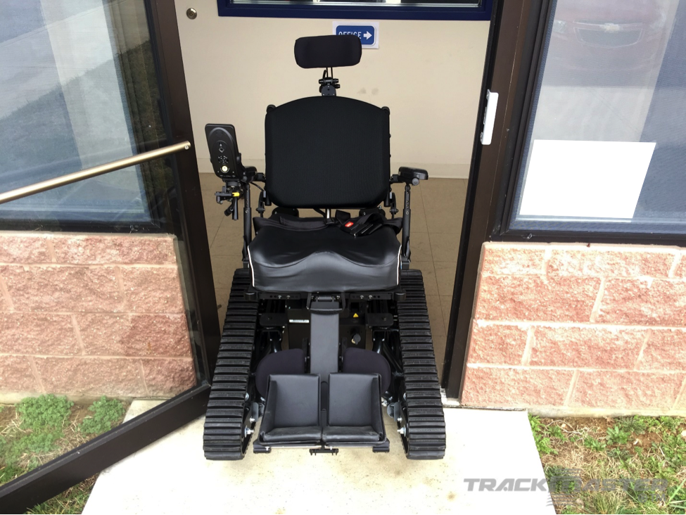 """Custom TrackMaster MK-1 with complex rehab seating fitting comfortably through a standard 32"""" doorway."""