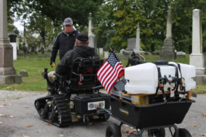 track chairs for vets - cemetery